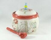 Sugar Bowl with Spoon, Lidded Sugar Jar, Ceramic Container, Canister, Sugar Bowl with Lid, Ceramic Sugar Bowl, Lidded Covered Sugar Bowl 403