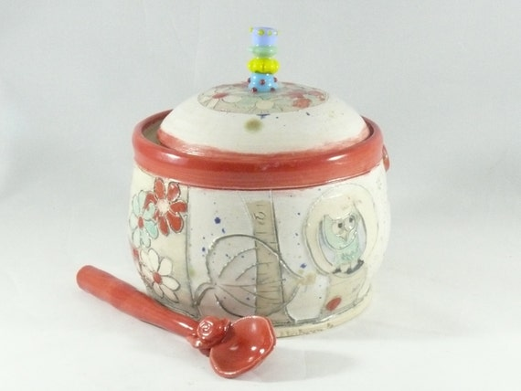 Sugar Bowl with Spoon, Lidded Sugar Jar, Ceramic Container, Kitchen Canister, Sugar Bowl + Lid, Ceramic Sugar Bowl, Lidded Covered Bowl 403