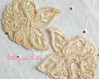 Hand dyed pearl and sequin rose appliques, venise lace