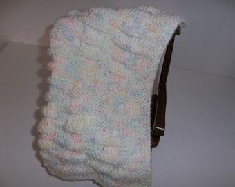 Multi-Color  Hand  Knit Doll Blanket/Afghan/Throw, Blue, Pink, Yellow Basket Weave Blanket