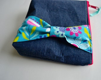 Zipper Pouch with Bow - Denim Make up Bag with Turquoise Bow - Blue Pink Zipper Pouch - Modern Zipper Pouch