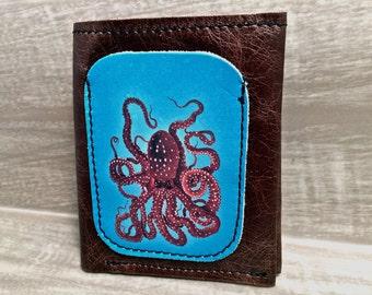 Leather Billfold Unisex Mens Wallet (Zipper Pocket) in Octopus Pattern Digital Photo Print on 100% Genuine Leather / Brown