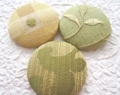 CLEARANCE Green buttons, yellow buttons, buttons, fabric covered buttons, size 75 buttons