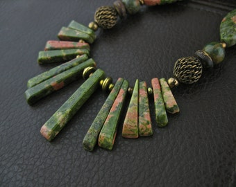 Green Pink Brown Unakite Coconut Stone Brass Chunky Necklace, Green Brown Chunky Jewelry, Unakite Jewelry, Green Brown Short Necklace