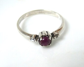 Antique Ruby and Diamond Ring Sterling Silver Engagement Ring Size 6