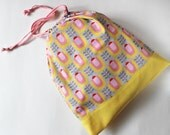 Drawstring bag, travel bag, laundry bag, shoe bag - yellow and pink tulips on gray retro floral flower buttercup yellow organization