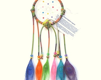 Tie-Dye Brights Dream Catcher, Peacock Eyes Feathers