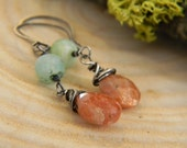 sunstone and peruvian opal dangle earrings