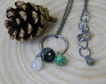 rustic moonstone, labradorite and chrysoprase necklace - oxidized sterling silver