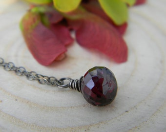 simple garnet dumpling necklace - oxidized silver