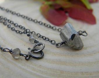 SALE - pyrite chunk necklace - oxidized silver