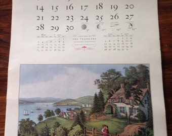 The Travelers Currier & Ives 1970 Calendar – Vintage – Published by The Travelers Insurance Company – Monthly Prints