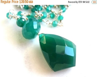 25% SALE Green Onyx Faceted Pendant. Green Onyx Rosary Chain. Silver. Under 50.