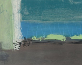 Abstract, original, mixed-media painting, landscape, title - Just Beyond