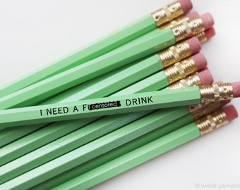 Mature Pencil Set. Office Supplies. Back to School. F*cking Drink. Funny Pencils. Mint Pencil Set. Engraved Pencils.