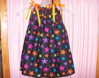 Multi Color Stars Print Toddler Dress or Girl's Tunic Top ONE SIZE Fits All from 18 months to girl's 10