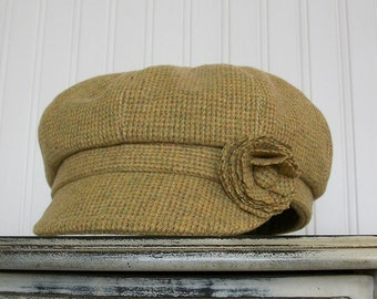 Womens Newsboy Cap in Chartreuse and Terracotta Wool - Newsboy Hat - M