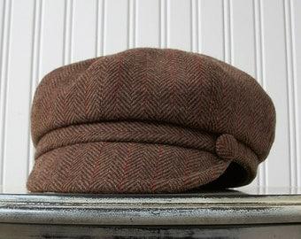 Brown Herringbone Wool Hat - Womens Hat Newsboy Hat - Womens Accessories - Newsboy Cap - MADE TO ORDER - Jot