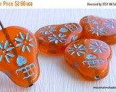 25% OFF Summer Sale Sugar Skull Beads -  20mm Sugar Skull Beads - Milky Orange Turquoise Picasso - Czech Glass Beads 4 Pack (G - 792)