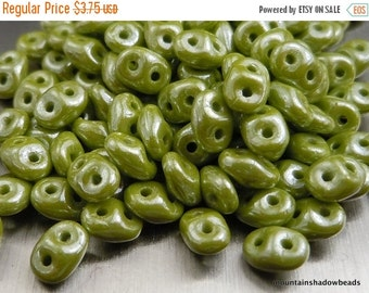 "25% OFF Summer Sale Super Duo Czech Glass Beads - 2.5x5mm 2 Hole Beads - 2.5"" Tube - Opaque Olive Luster (F9 - 3)"