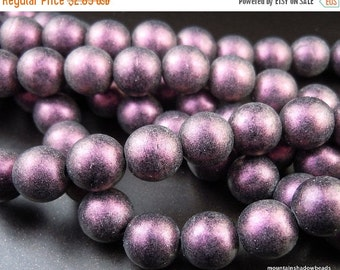 25% OFF Sale 8mm Czech Beads - Polychrome Pink Olive Smooth Round Beads (G - 230)