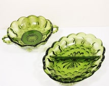 Anchor Hocking Fairfield Avocado Green Divided Dish and Handled Relish Dish Catch All Candy Trinket Bowl
