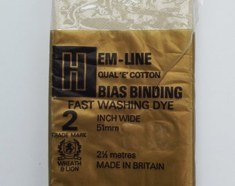 Vintage Bias Binding - Hemline - Pale Cream 51 mm 2 inch - perfect condition