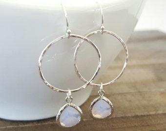 Sterling Silver Hoop Violet Opal Glass Earrings, Sterling Hoop Earrings, Long Dangle Earrings