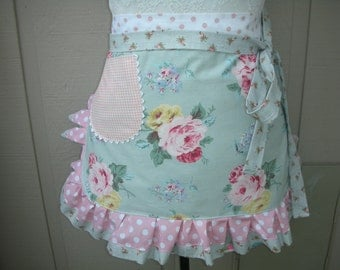 Pink Rose Aprons - Aqua Rose Aprons - Cottage Chic Aprons - Roses and Pink Dots Handmade Apron - Chic and Shabby Apron - Annies Attic Aprons
