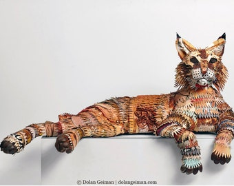 Bobcat Sculpture in Metal Custom Wildlife Sculpture