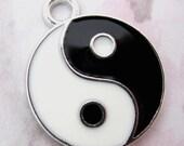 3 pcs. silver tone enamel yin yang chi harmony pendants charms 20mm - f5273