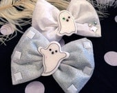 Silver and White Ghosts Halloween Hair Bows