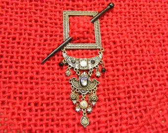Tribal Antique Brass Finish Shawl Pin with Rhinestones... Lot 35162