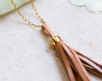 Leather tassel Necklace, Simple Leather Tassel necklace