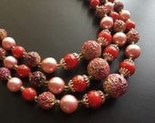 Vintage Pink Pearl Red Bead 3 Strand Choker Necklace / Japan