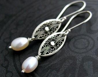 Pearl Earrings, White Pearl Filigree Dangle Earrings, Sterling Silver Filigree Pearl Drop Earrings, Bridal Earrings, Bridal Jewelry, MsBelle