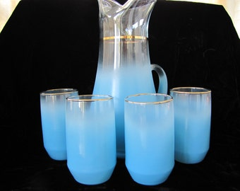 West Virginia Glass Pitcher and Glasses