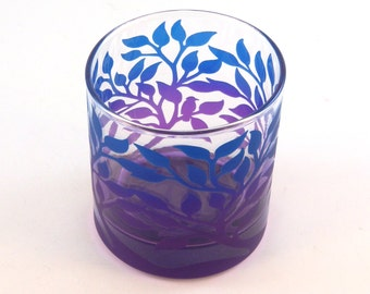 Tree of Life - Lowball Tumbler Glass - Inlaid Style - Etched and Painted Glassware - Custom Made to Order