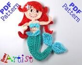 Mermaid Crochet Applique Pattern