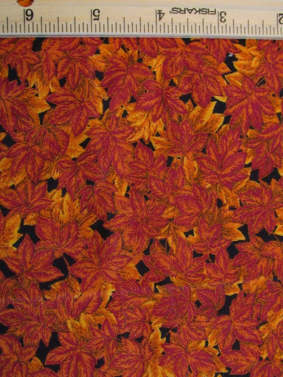 Fat Quarter Autumn Fall Harvest Fabric Rust Orange Leaves ...