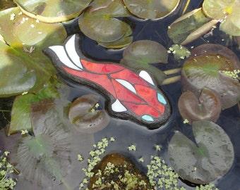 Koi, Floating Stained Glass Mosaic Art, Water Garden Decor, Sculpture,  Outdoor Rooms, Home Decor, Original Art, Pond Art, Red Fish