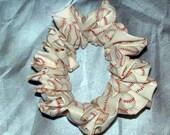 Baseball Hair Scrunchie, Ponytail Holder, Fabric Hair Tie, White