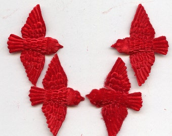 Small RED vELVET BIRDS (4)  Millinery  Pressed Pieces Embossed from Antique Molds MORE AVAlLABLE