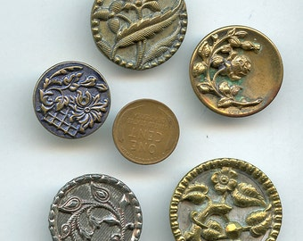 Victorian Large Buttons Lot of (5) UNUSUAL Flowers Floral Antique Metal  2388