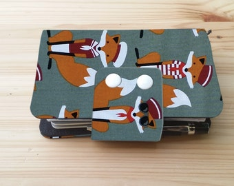 Dark Grey Fox  Fabric Fauxdori Travelers Notebook   card slots  internal pockets pen loop snap closer