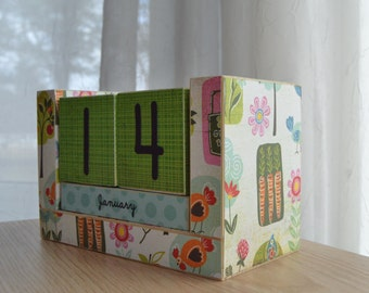 Perpetual Wooden Block Calendar - Life on the Farm