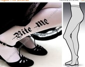 15%OFF/endsJUN28/ small/medium sexy HALLOWEEN Bite Me tattoo full length  tights / stockings / pantyhose / nylons white