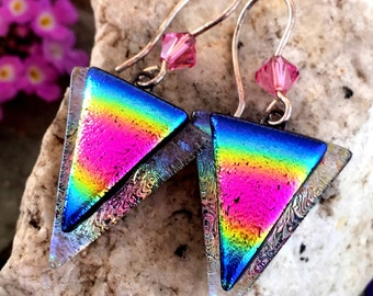 Dichroic Glass Earrings - Pretty Rainbow with Sterling Silver Handmade Hooks