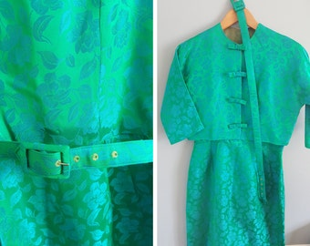 Vintage Blue Green Floral Dress and Jacket with Belt S