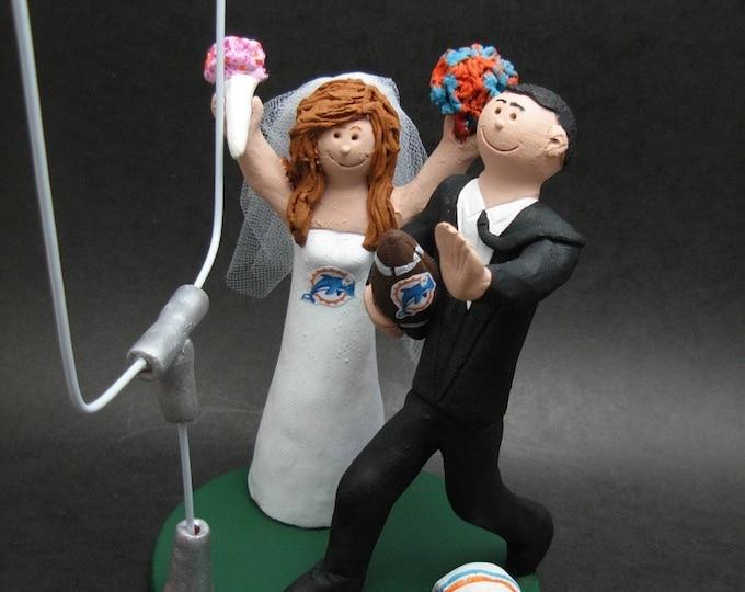 Miami Dolphins Football Wedding Cake Topper, Miami Dolphins Football Wedding Anniversary Gift, Football Wedding CakeTopper, NCAA Caketopper